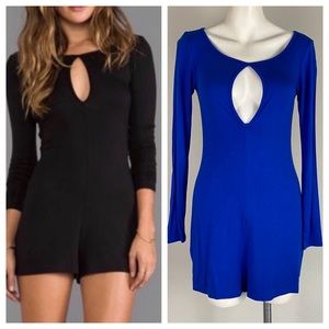 Blue Life Long Sleeve Jersey Knit Cobalt Romper XS